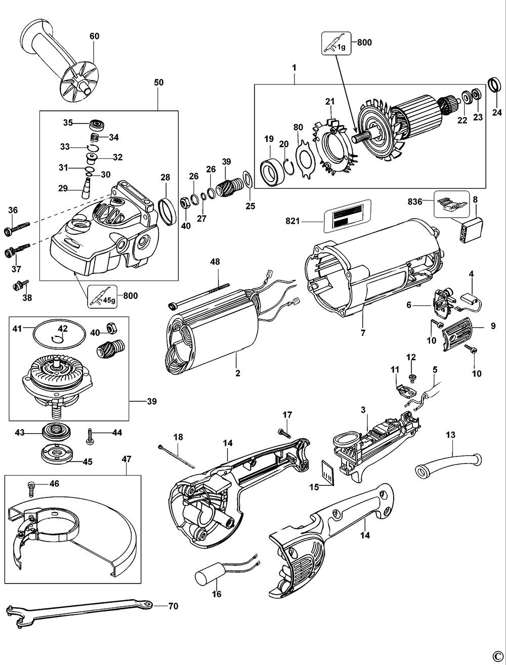 Dewalt D28415 Type 1 Angle Grinder Spare Parts Part Shop