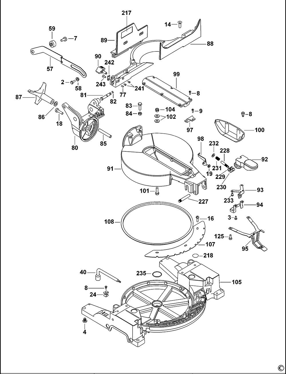 dewalt dw713xps type 1 mitre saw spare parts