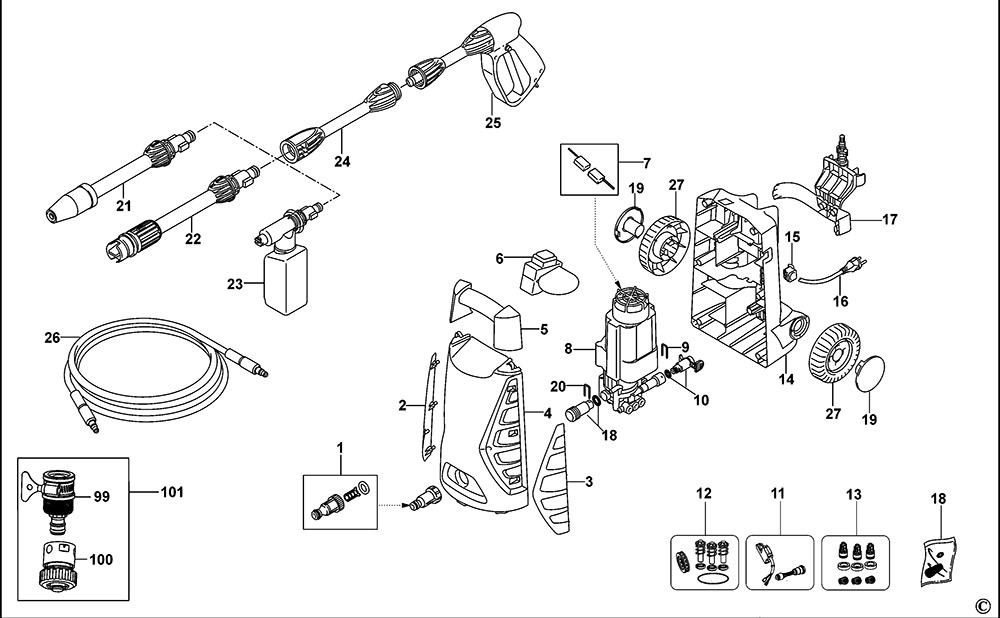 Black Amp Decker Pw1470td Type 1 Pressure Washer Spare Parts