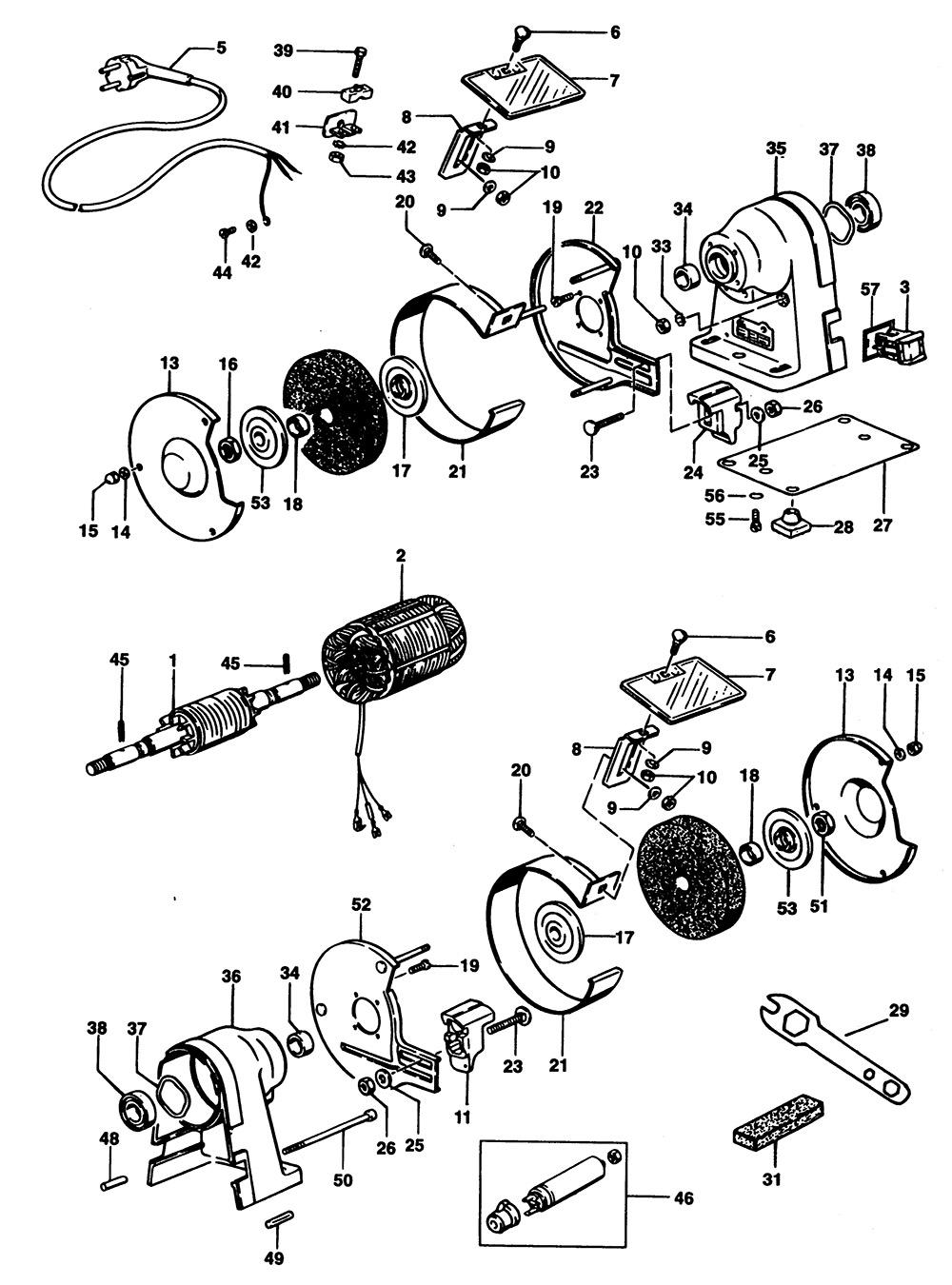 Elu Eds164 Type 1 Bench Grinder Spare Parts Part Shop Direct