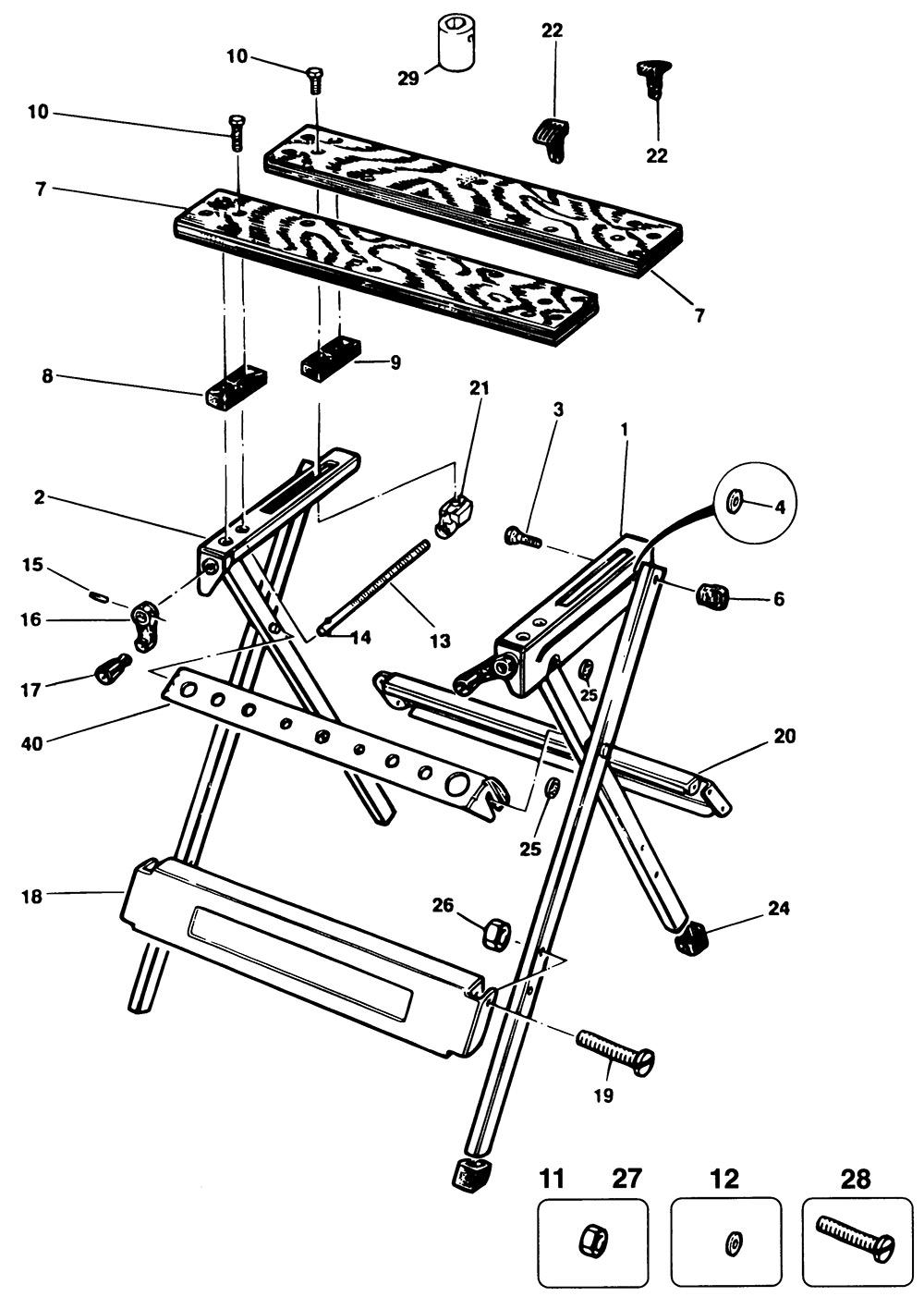 Black Amp Decker Wm300 Type 1 Workmate Spare Parts Part
