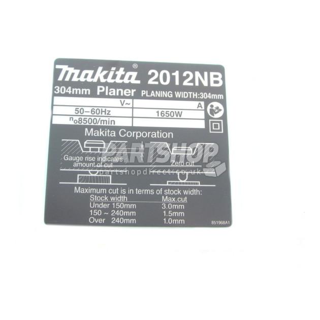 Makita Name Plate 2012nb 851968-1
