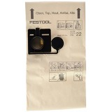 Festool 452970 FIS-CT/CTL/CTM 22/5 Filter Bag for Dust Extractor x 5 Pack